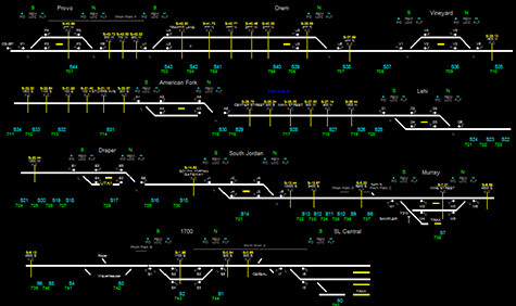 Digital drawings of train lines.